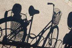 Shadow of a bicycle on the asphalt royalty free stock images