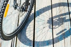 Shadow from a bicycle wheel on a wooden background.  Stock Photography