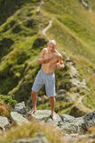Shadow boxing on mountain Stock Photography