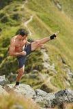 Shadow boxing on mountain Stock Photos