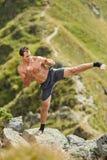 Shadow boxing on mountain Royalty Free Stock Photo