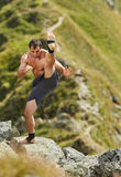 Shadow boxing on mountain Royalty Free Stock Photography