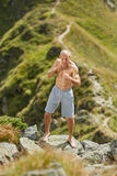 Shadow boxing on mountain Royalty Free Stock Image