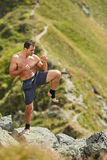 Shadow boxing on mountain Stock Image