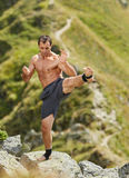 Shadow boxing on mountain Stock Images