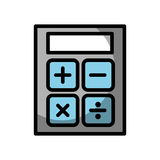 Shadow calculator cartoon. Cute shadow grey and blue calculator cartoon vector graphic design Stock Photography