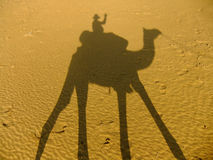 Shadow of a camel with tourist on a sand dunes, Thar desert, Ind Royalty Free Stock Photo