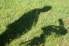 Shadow of a cameraman. And video camera Stock Photo