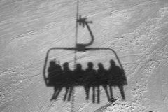 Shadow of an chairlift Royalty Free Stock Photos