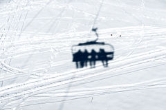 Shadow of the chairlift in the snow Royalty Free Stock Photos