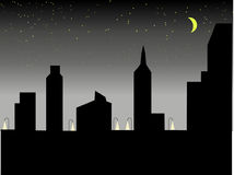 Shadow City. With stars and moon Royalty Free Stock Images