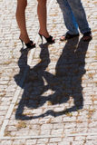 Shadow on the cobblestones Royalty Free Stock Image