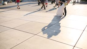 The shadow of the couple on the floor. Silhouette of the shadow stock footage