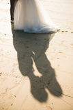 Shadow of couple when they're kissing Stock Image