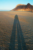 The shadow of a couple at sunset at Qalansia beach, love, honeymoon, Socotra, Yemen Stock Image