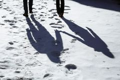 Shadow of Couple Walking in Forest and Holding Hands. During Winter stock photography
