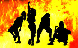 Shadow dance in fire. Stock Photography