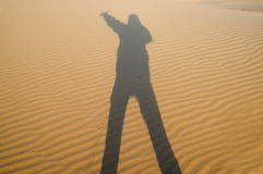Shadow  on the desert Royalty Free Stock Images