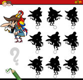Shadow differences activity. Cartoon Illustration of Find the Shadow without Differences Educational Activity for Children with Pirate Character Royalty Free Stock Photography