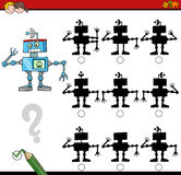 Shadow differences activity game. Cartoon Illustration of Find the Shadow without Differences Educational Activity for Children with Robot Character Stock Photography