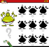 Shadow differences game with alien. Cartoon Illustration of Find the Shadow without Differences Educational Activity for Children with Alien Fantasy Character Royalty Free Stock Photos