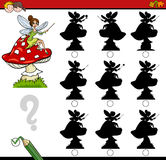 Shadow differences game with fairy. Cartoon Illustration of Find the Shadow without Differences Educational Activity for Children with Fantasy Character Stock Photo