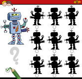 Shadow differences game with robot. Cartoon Illustration of Find the Shadow without Differences Educational Activity for Children with Robot Character Royalty Free Stock Images