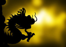 Shadow Dragon on a gold background. Stock Photography