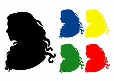 Shadow five profiles. Silhouette of a woman in profile, file EPS 10 Royalty Free Illustration