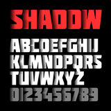 Shadow font. Alphabet and numbers Stock Photos