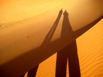 Shadow of the friends on golden sand dunes (Sahara desert). Friendship symbol consisting on the shadow of two friends on the sand of the Sahara desert (Erg Royalty Free Stock Photos