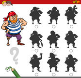 Shadow game activity with pirate. Cartoon Illustration of Finding the Shadow without Differences Educational Activity for Children with Pirate Fantasy Character Royalty Free Stock Photo