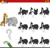 Shadow game activity with safari animals Stock Photos
