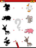 Shadow game with animals. Cartoon Illustration of Find the Shadow Educational Activity Game for Children with Animals Royalty Free Stock Photo