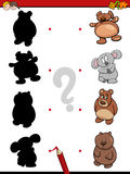 Shadow game with bears. Cartoon Illustration of Find the Shadow Educational Activity Game for Children with Bears Animal Characters Royalty Free Stock Photo