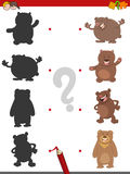 Shadow game with bears. Cartoon Illustration of Find the Shadow Educational Activity Game for Children with Bear Animal Characters Royalty Free Stock Photos
