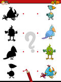 Shadow game with birds. Cartoon Illustration of Find the Shadow Educational Activity Game for Children with Birds Animal Characters Royalty Free Stock Image