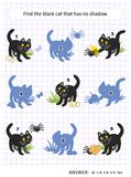 Shadow game with black cat. Halloween themed visual puzzle or picture riddle with black cat: Find the picture that has no shadow. Answer included royalty free illustration