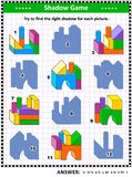 Shadow game with building blocks. IQ and spatial skills training visual puzzle or picture riddle: Try to find the right shadow for every building blocks vector illustration