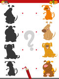 Shadow game with cartoon dogs. Cartoon Illustration of Find the Shadow Educational Activity Game for Kids with Dog Characters Stock Photography