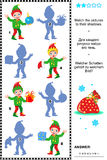 Shadow game with christmas elves. Christmas or New Year themed visual puzzle: Match the pictures of christmas elves to their shadows. Answer included.n vector illustration