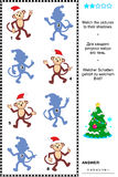 Shadow game with christmas monkeys. Christmas or New Year themed visual puzzle: Match the pictures of christmas monkeys to their shadows. Answer included Royalty Free Stock Photo