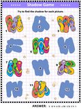 Shadow game with colorful flip-flops royalty free illustration