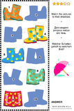Shadow game with colorful gumboots. Visual puzzle: Match the pictures of gumboots to their shadows. Answer included stock illustration