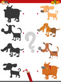 Shadow game with dog characters. Cartoon Illustration of Find the Shadow Educational Activity Game for Children with Dog Characters Stock Photography