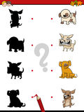 Shadow game with dogs. Cartoon Illustration of Find the Shadow Educational Activity Game for Children with Dogs Animal Characters Royalty Free Stock Photos