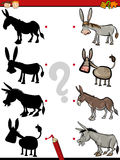Shadow game with donkey. Cartoon Illustration of Education Shadow Test for Preschool Children with Donkeys Farm Animal Characters Stock Photography