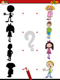 Shadow game with kids. Cartoon Illustration of Find the Shadow Educational Activity Game for Children with Kid Characters Stock Photography