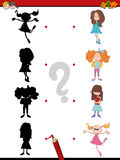 Shadow game for kids. Cartoon Illustration of Find the Shadow Educational Activity Task for Children with Kid Girls Stock Photography