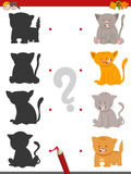Shadow game with kittens. Cartoon Illustration of Find the Shadow Educational Activity Game for Children with Cats or Kittens Animal Characters Stock Photography